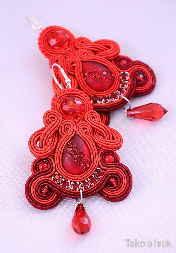 Red soutache earrings