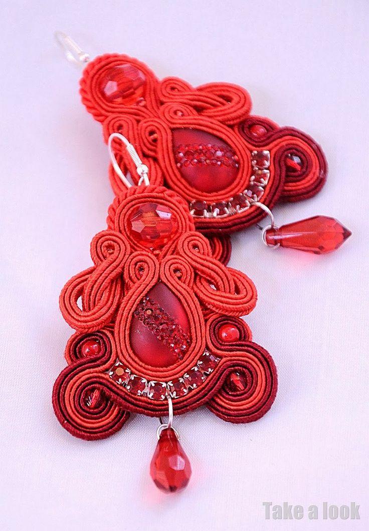 Red soutache earrings
