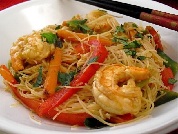 Stir-Fry Prawns / Shrimps With Vegetables and Fresh Thai Noodles from Food.com:   								This recipe started off as a chicken salad but I wanted something warmer and I had raw green prawns at home so it ended off as a stir-fry. For the noodles I used Fresh Thai Noodles which are yellow in colour and flat, I purchase them in the fridge section of the supermarket. I ate the stir-fry the next day for lunch and the flavours really enhanced. Enjoy