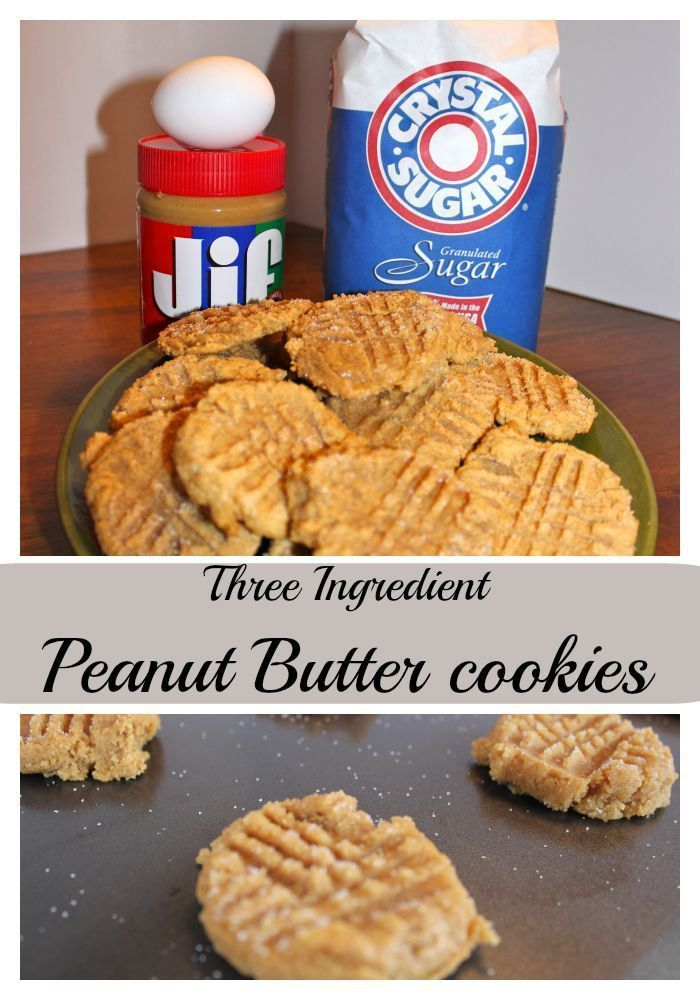 Peanut Butter Cookies - three ingredients! Easy and quick scratch recipe.  Only uses peanut butter, sugar and an egg.  Gluton free - Momcrieff