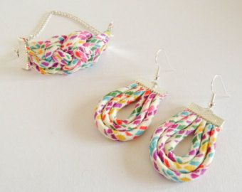 Liberty of London Gift Set - Handmade Knot Jewellery in a Choice of Tana Lawn Prints - Bracelet and Earrings Gift Boxed