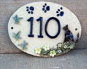 Cat house number plaque, ceramic numbers, cat lover's door numbers. - pinned by pin4etsy.com