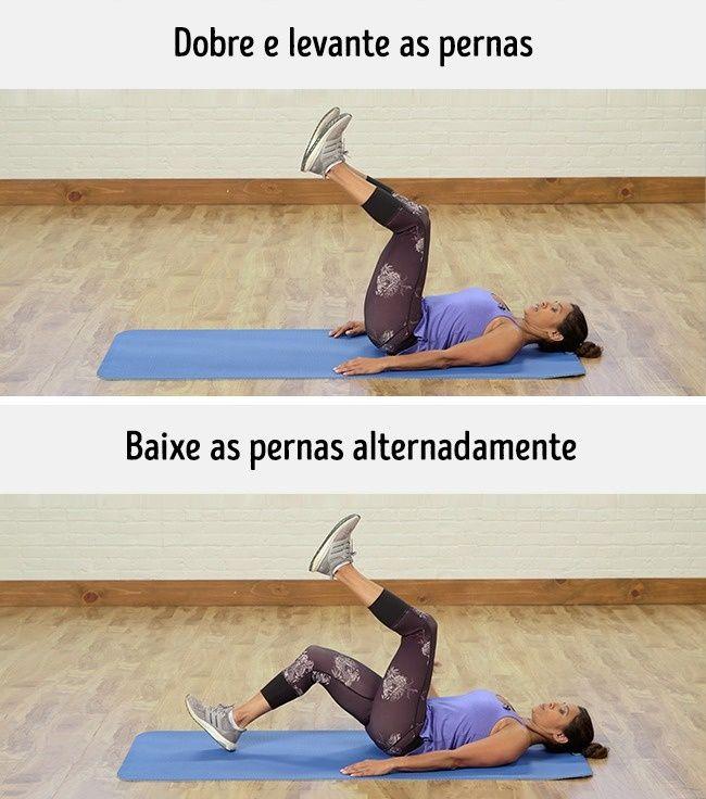 Como fazer: Deitada de costas, levante as pernas dobradas. Ao expirar, baixe uma perna, tocando o solo com o calcanhar. Ao inspirar, volte a levantá-la. Repita com a outra perna. Faça o exercício durante um minuto. Efeito: Fortalece a parte frontal do quadril e tonifica os músculos abdominais retos e oblíquos.