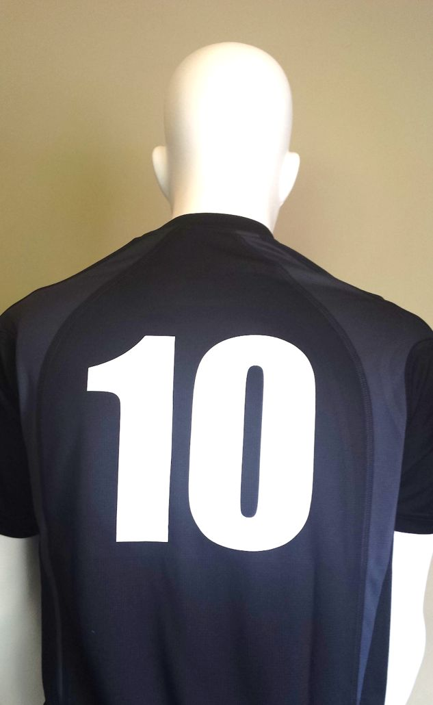We recently produced this order of DriGear sports shirts with player numbers on the back