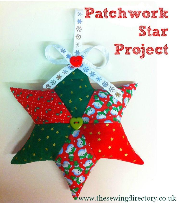 Patchwork star decoration #Christmas
