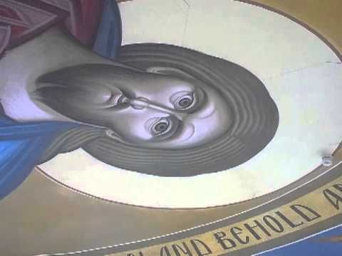 Icon on ceiling update:  April 7, 2013: A review of the progress-to-date of Dr. George Kordis and his iconography team on the Pantokrator icon of Christ and the Holy Angels at the top of the dome of the new Holy Trinity Church