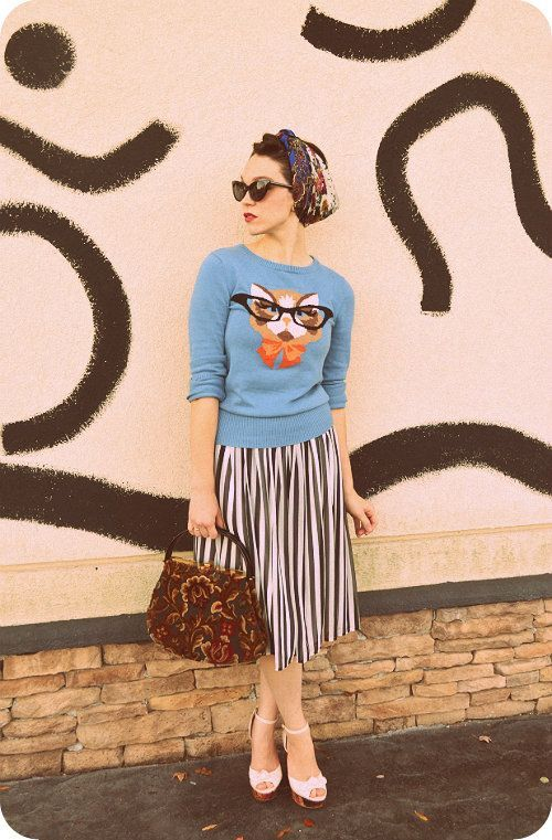 striped skirt, pleated, baroque, funky sweater, blue, foxy, glasses, turban, sunglasses, pattern, knit, print, spring, peeptoe heeled shoes from: amoebalanding