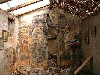 Restoration under way of one of the village's tiny chapels.