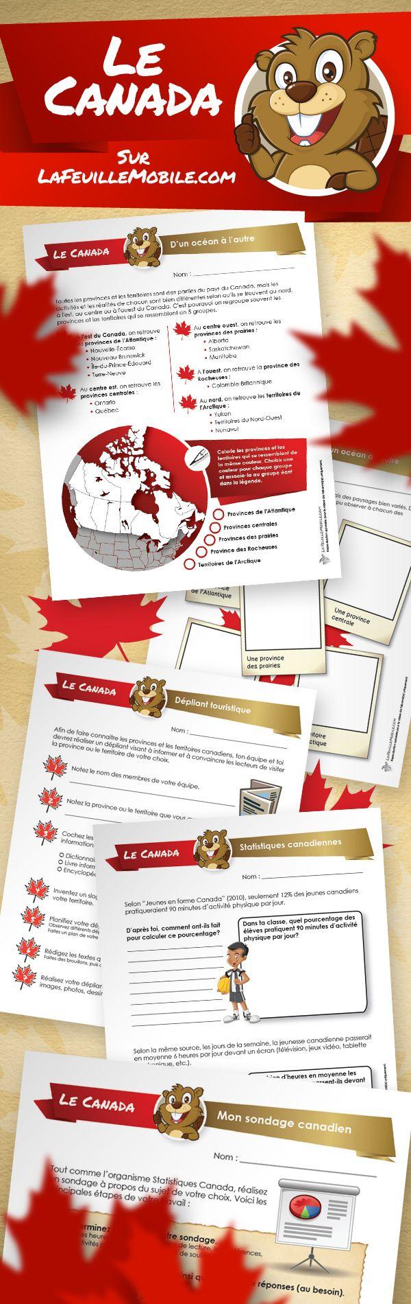 Toutes nos activités sur le thème du Canada sur LaFeuilleMobile.com!