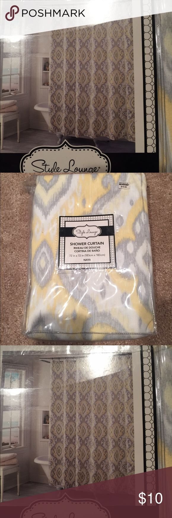 NEW Bed Bath & Beyond Shower Curtain, yellow gray Brand new, never opened. We just changed the theme of our bathroom before needing this. Style Lounge Other