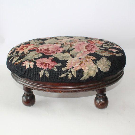 Vintage Needlepoint Footstool or foot rest by Hallingtons on Etsy
