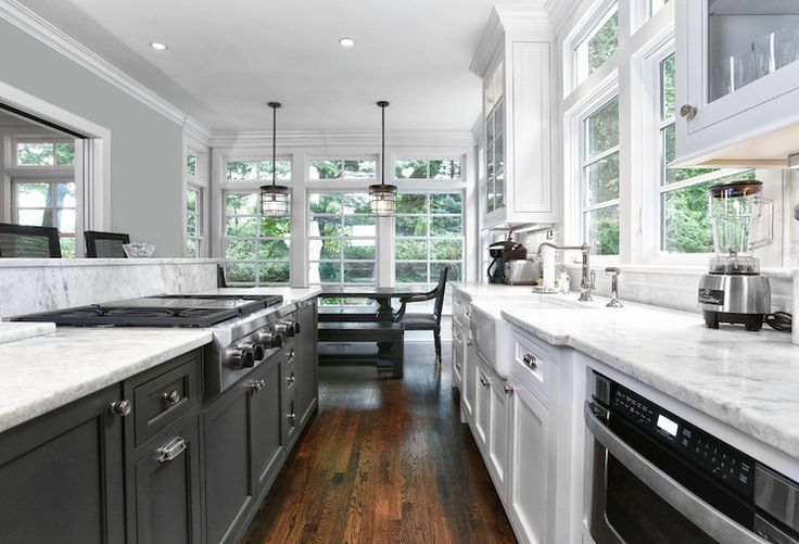 Black white galley kitchen kitchen design pinterest for Black and white galley kitchen