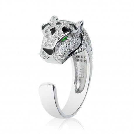 Luxusní stříbrný prsten tygr se smaragdy a zirkony
