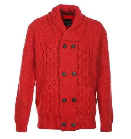 Luke 1977 Champions Red Double Breasted Chunky Knitted Cardigan