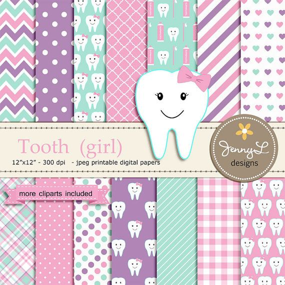 Tooth Girl Digital Paper and Clipart Dental by JennyLDesignsShop