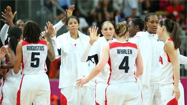 Lindsay Whalenof USAcelebrates making a shot in the women's Basketball preliminary round match between the USAand Turkey on Day 5 of the London 2012 Olympic Games at Basketball Arena