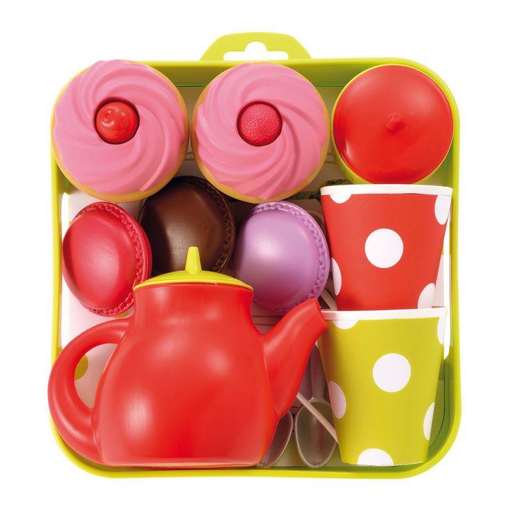 Het Franse merk Ecoiffier heeft een breed assortiment speelgoed voor in de keuken, tuin, huishouden en voor op het strand! Kinderen kunnen met het speelgoed van Ecoiffier spelenderwijs kennismaken met het dagelijks leven.Afmeting:19,5 x 19,5 x 9 cmInhoud een theepot, 2 kopjes, suikerpotje, 2 muffins en 3 macarons. - Ecoiffier 100& Chef Theeset met Dienblad