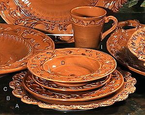 tuscan dinnerware | Details about Tuscan Horchow Paprika Burnt Orange Dinnerware 16 pc ...