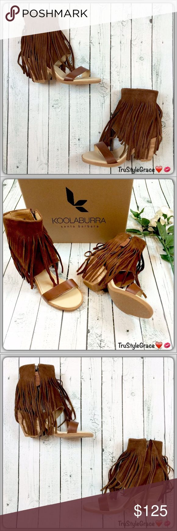 "BNIB - Fun Fringe Suede Open-Toe Booties/Sandals Brand New With Box, Never Worn ✨Koolaburra Piaz II Fringe Open-Toe Booties/Sandals✨Color: Kona Coffee (Also Available in Chestnut) ✨Size: 7✨100% Leather (Suede Feel) ✨Heel: Approx. 3"" ✨Shaft: Approx. 6.5"" From Arch ✨Side-Zip Closure ✨Boot-Cuff Sandal With Floor Length Fringe ✨Super Sexy, Fun & Flirty ✨Expect Compliments Whenever You Wear Them! I Sooo Love Mine!! ❤ ✨️Slight imperfections do not take away from beauty (see photos) reflected in…"