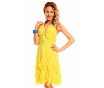 Vrolijk, geel zomerjurkje met gelaagde rok