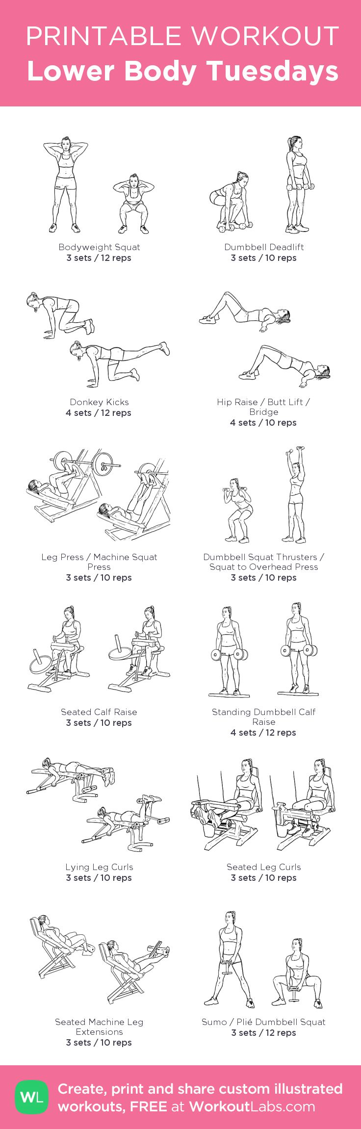 Lower Body Tuesdays –my custom workout created at WorkoutLabs.com