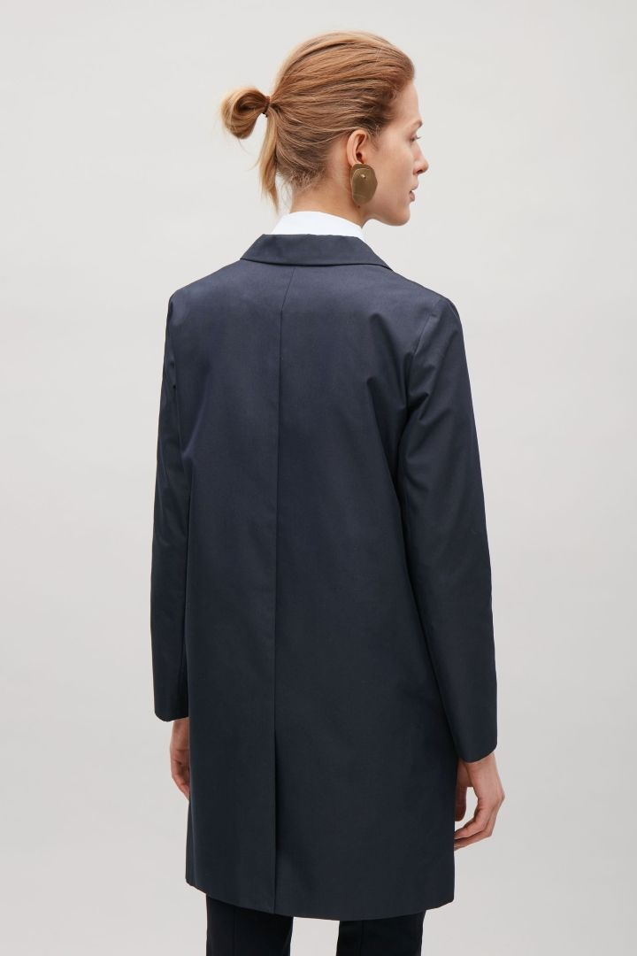COS image 3 of Tailored twill coat in Navy