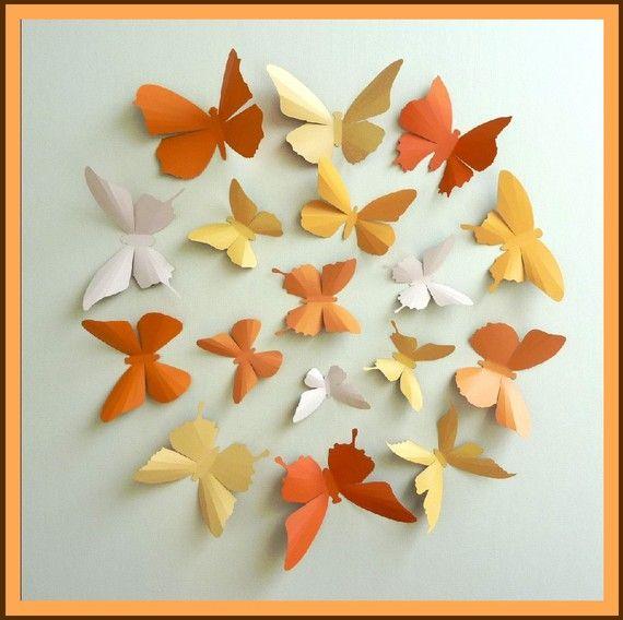 3D Wall Butterflies - 15 Pumpkin, Light Mustard, Light Peach, Orange