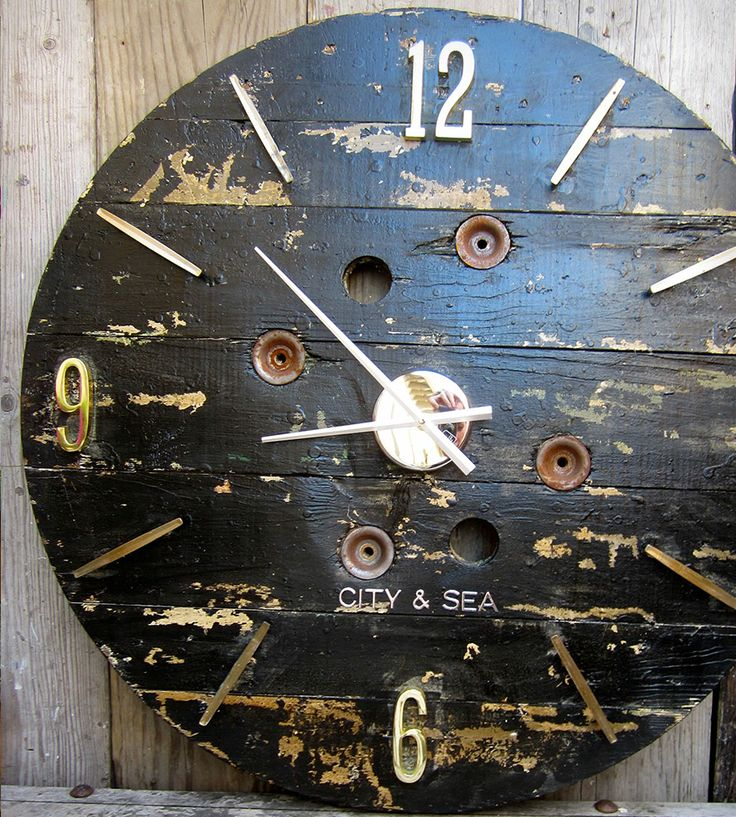 Large Reclaimed Wood Wall Clock – Black - 187 Best Wooden Clocks Images On Pinterest