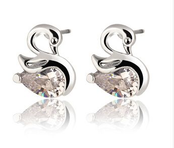 >> Click to Buy << Hot Classic Animal Swan Crystal Stud Earrings Alloy Color Silver Gold Heart Crystal Earring Fashion Jewelry 2015 Best Selling #Affiliate