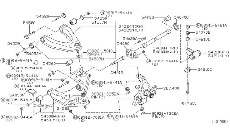 2000 Nissan Frontier Front Suspension Link and Arm and Spring ...