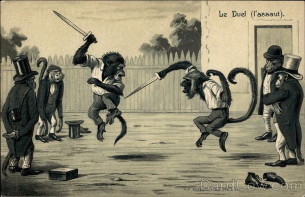 Monkeys Dueling post card
