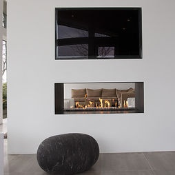 Modern Family Room Design, gas fireplace