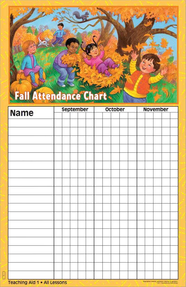 Fall Attendance Chart | BIL Preschool | Disciplr.com | https://disciplr.com/app/curriculum/17/lesson/695