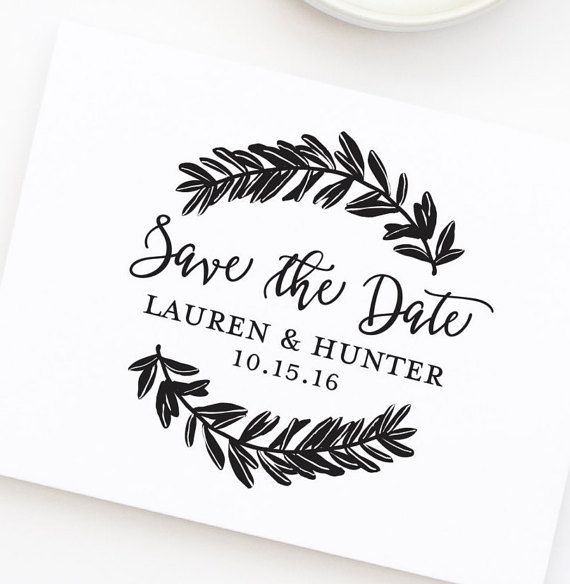 Save the Date Stamp Wedding Stamp with Wreath by HelloWorldStamps