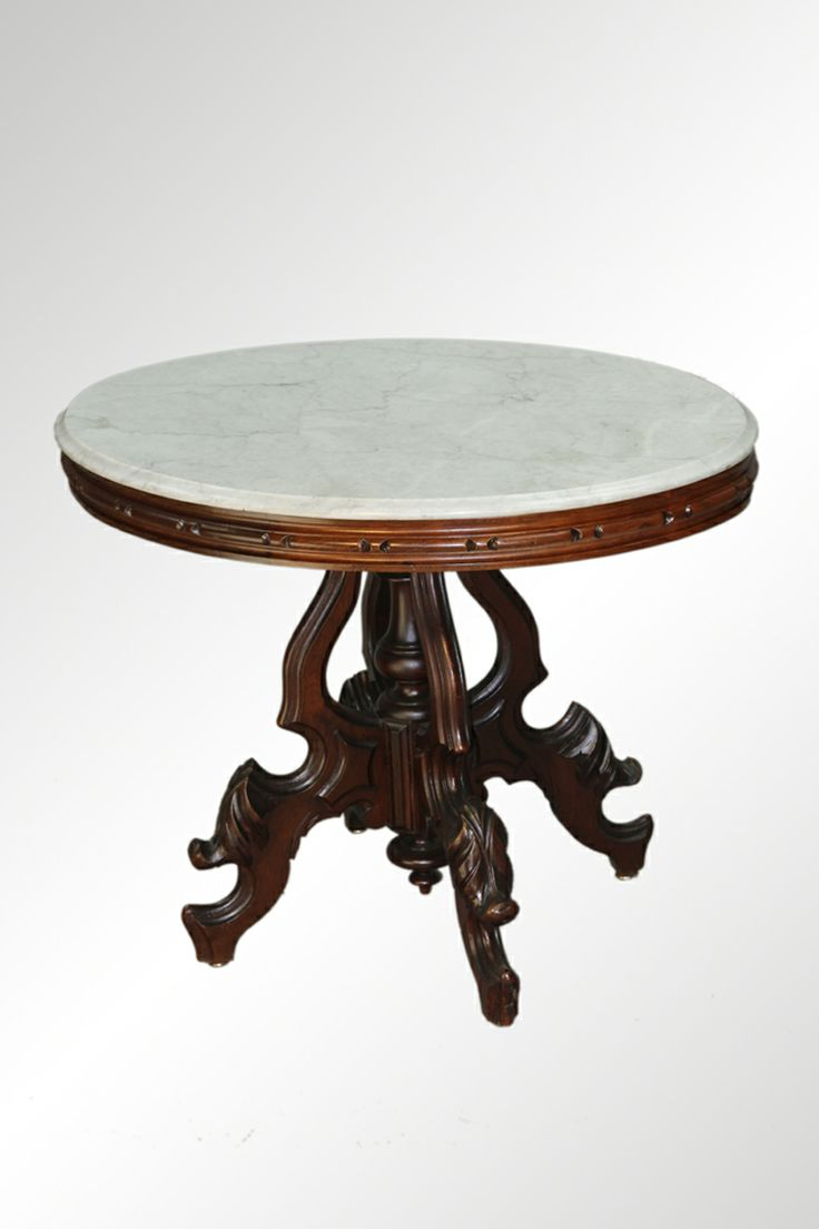 Auction company 751 walnut victorian marble top parlor table ca 1870 -  Marble Top Table Cataloged Antique Auction Saturday June 15th 11am