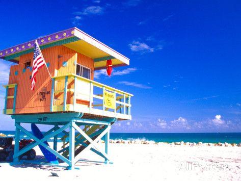 Life Guard Station, South Beach, Miami, Florida, USA
