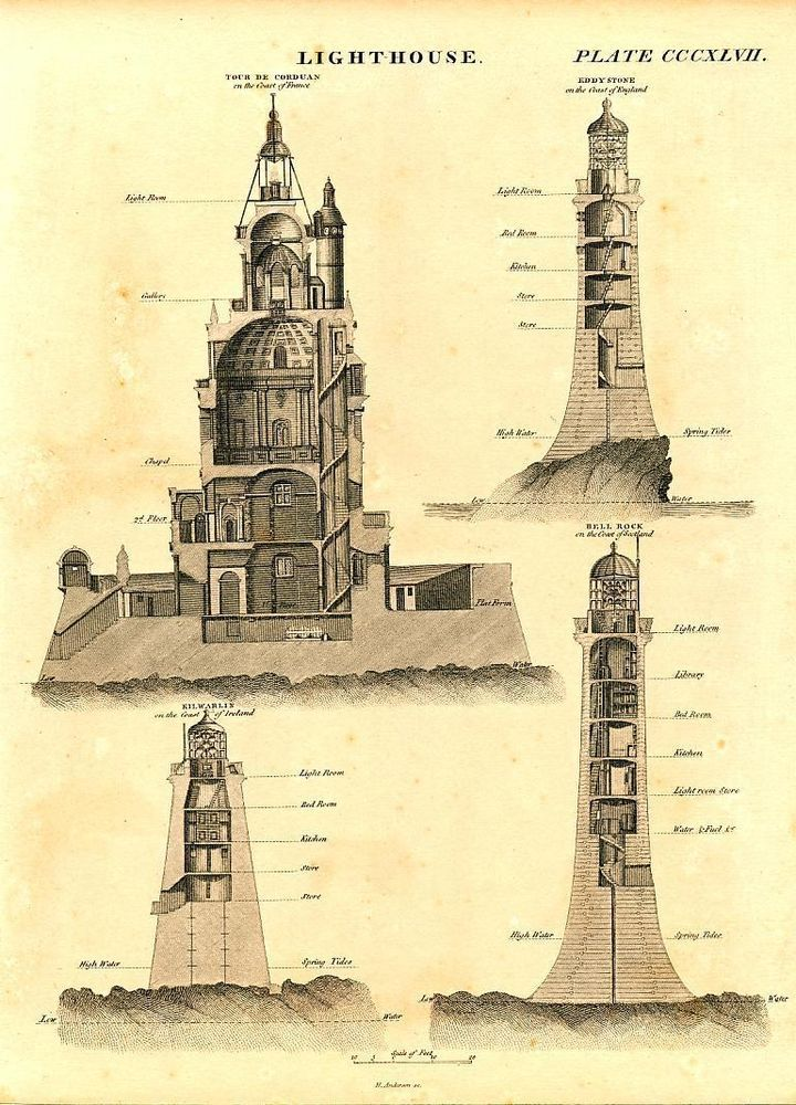 61 best blueprint images on pinterest light house lighthouse and lighthouses france england c c1820 fine antique engraved engineering print malvernweather Image collections
