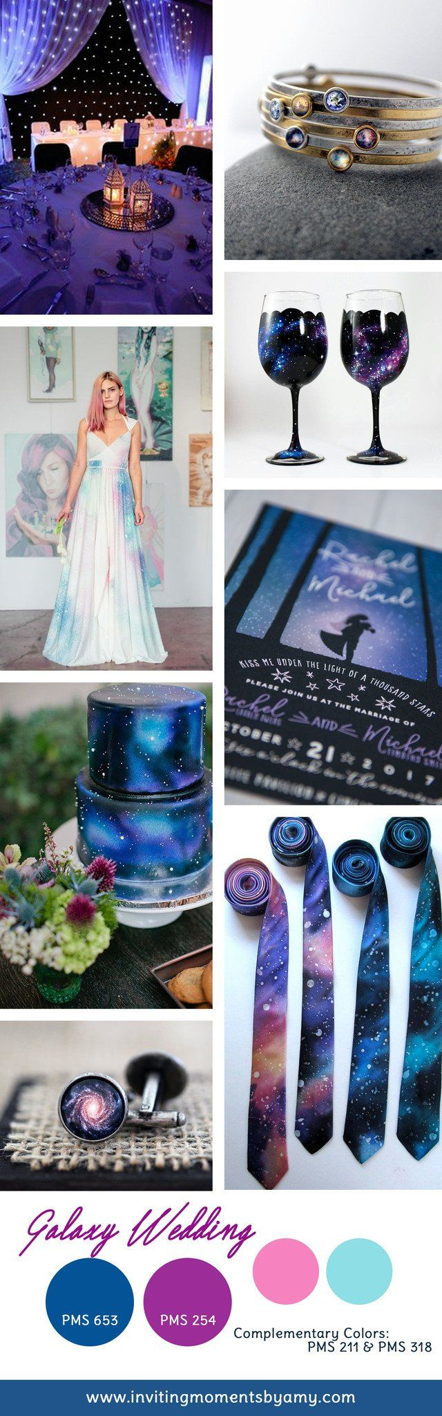Galaxy Wedding Theme and Colors, Starry night wedding reception, wedding under the stars, galaxy wedding invitations
