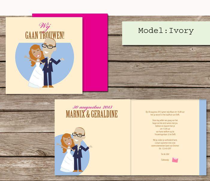 #custom # illustrated #wedding #invites  #trouwkaarten op maat #maatwerk #cartoon #tekening van jezelf nagetekend op een trouwkaart.