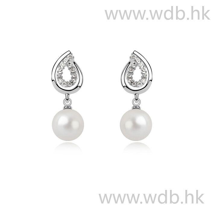 Noble Dangle Earrings With White Gold Plated Details Read More: http://www.weddingdresso.com/noble-dangle-earrings-with-white-gold-plated-details.html pendientes de novia