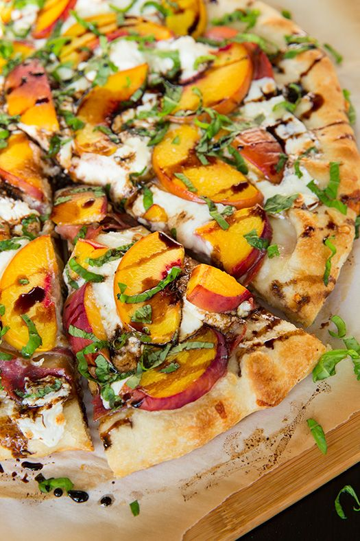 Three Cheese Peach and Prosciutto Pizza with Basil and Honey Balsamic Reduction - MasterCook