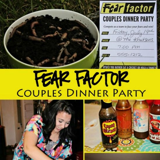 This couples game night will have all your friends talking! Snag these ideas for a Fear Factor themed Couples Dinner Party!