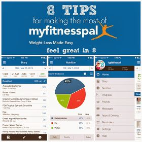 My fitness pal tips. This app is amazing, track your calories, ratio of carbs, fat, protein, sat fats (or anything else you choose). Track your weight loss (or gain),  measurements of body parts, water intake and exercise completed. Add friends, input recipes and find out nutritional values and calories. Complete a daily diary and get a rough estimate of what you will weigh in 5 weeks if you ate the same everyday. Use on all mobiles, tablets, ipads and computers. Add me: TheUnjaded