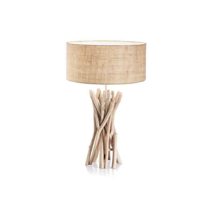 Best  Tischleuchte Textilleuchten Driftwood Holz natur leuchte lampe lampenundleuchten