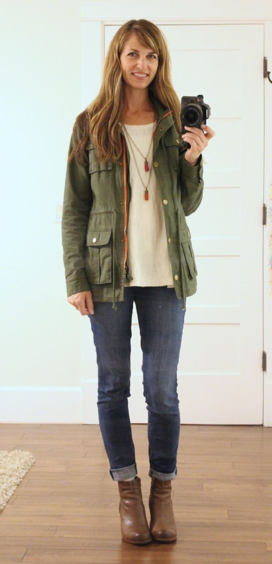 tiffany and co retailers what i wore  utility jacket cream swing top tassel necklaces skinny jeans wedge booties