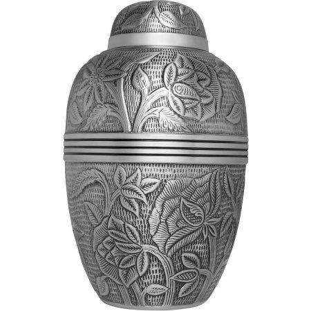 Argent Funeral Urn, Cremation Urn for Human Ashes, Hand Made in Brass, Large Size: Fits the Cremated Remains of Adults, Silver