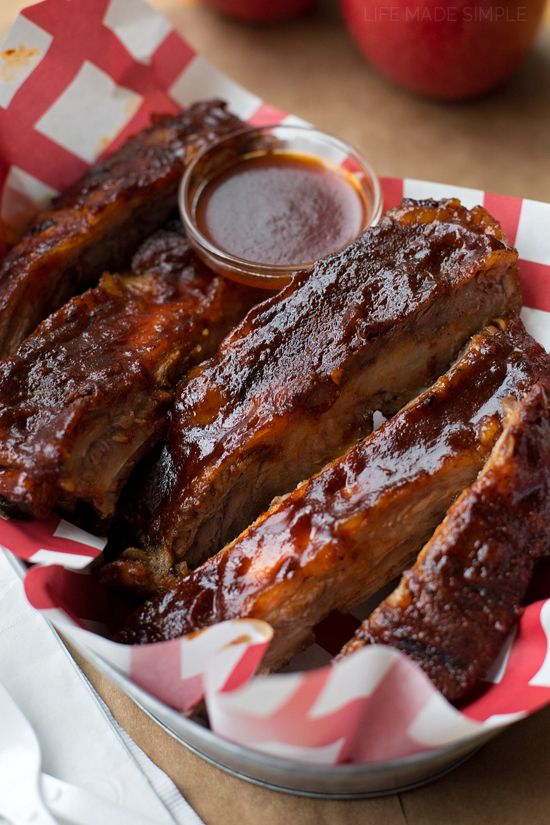 Spice up summer with these easy oven baked BBQ ribs! They're tangy, flavorful and slathered with a homemade BBQ sauce!
