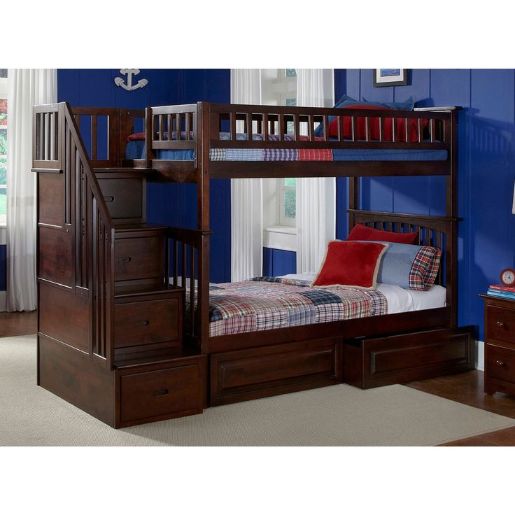 Atlantic Columbia Staircase Bunk Bed over with Raised Panel Bed Drawers in Walnut