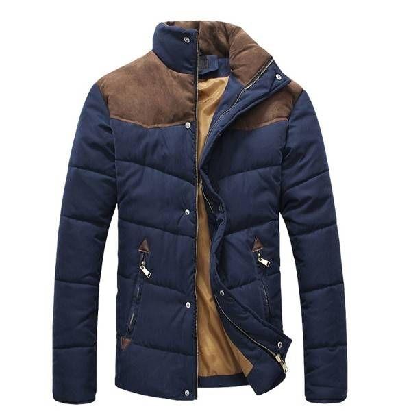 Mens Winter Coat Fashion Wadded Outdoor Thick Warm Cotton-padded Jacket at Banggood