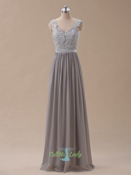 836d245dc906 Grey long prom dress / bridesmaid dress with lace appliques cap sleeves in  2019 | Rochii | Rochii